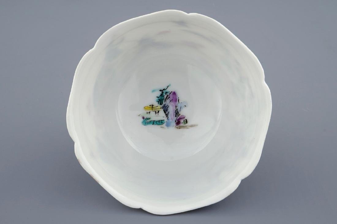 A Chinese famille rose cup and saucer with a fishing - 8