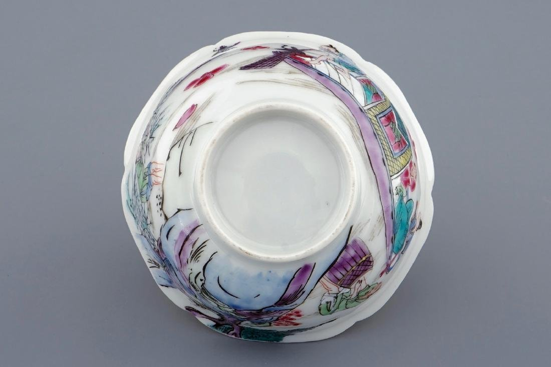 A Chinese famille rose cup and saucer with a fishing - 9