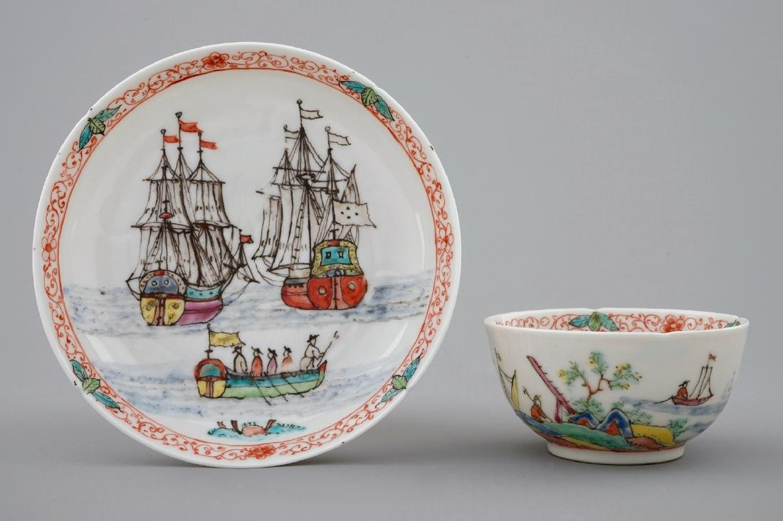 A Dutch-decorated Chinese cup and saucer with a scene