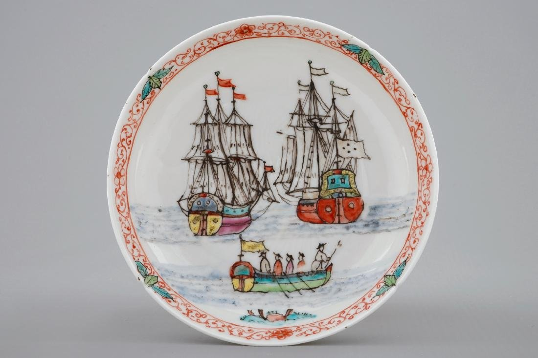 A Dutch-decorated Chinese cup and saucer with a scene - 2