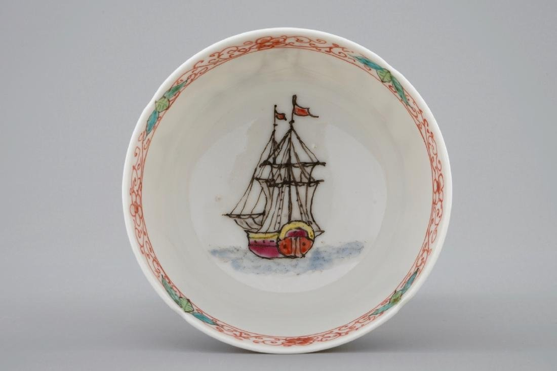A Dutch-decorated Chinese cup and saucer with a scene - 4