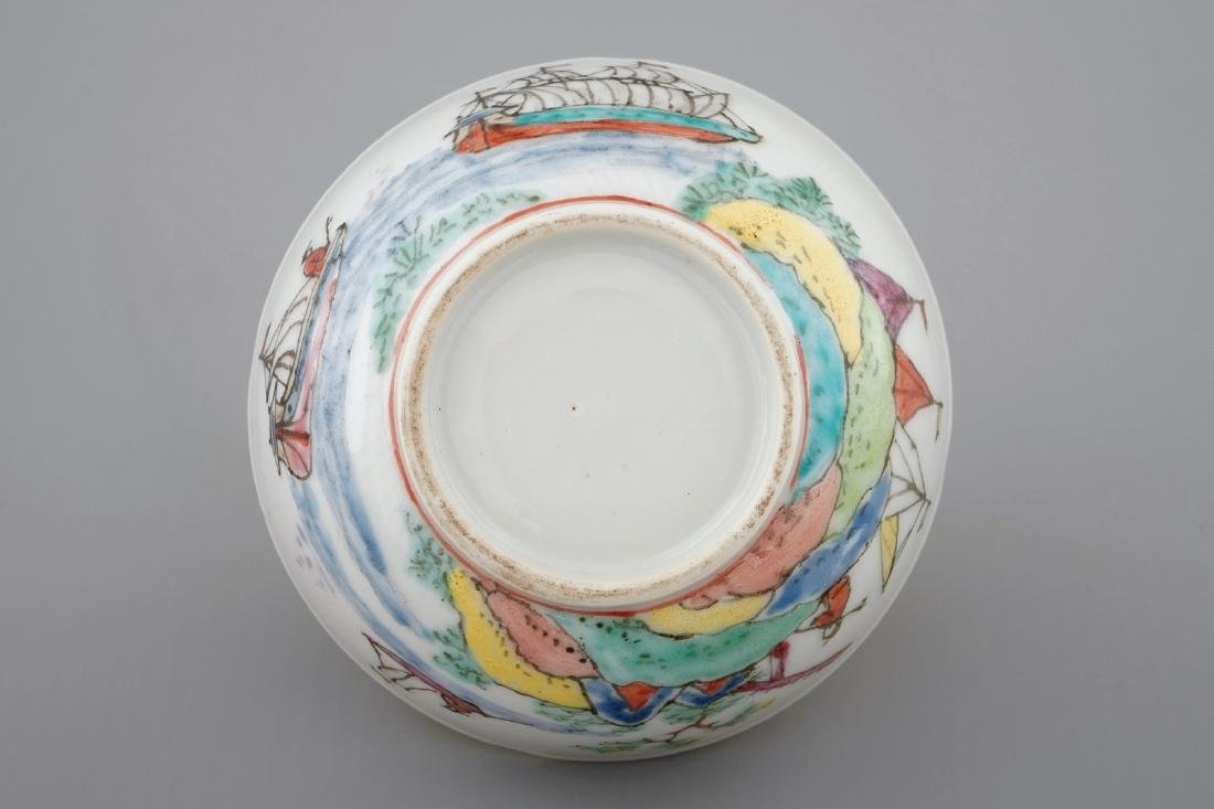 A Dutch-decorated Chinese cup and saucer with a scene - 5