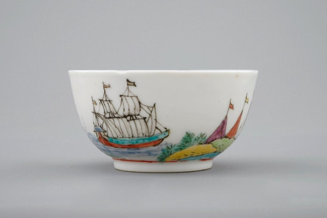 A Dutch-decorated Chinese cup and saucer with a scene - 7