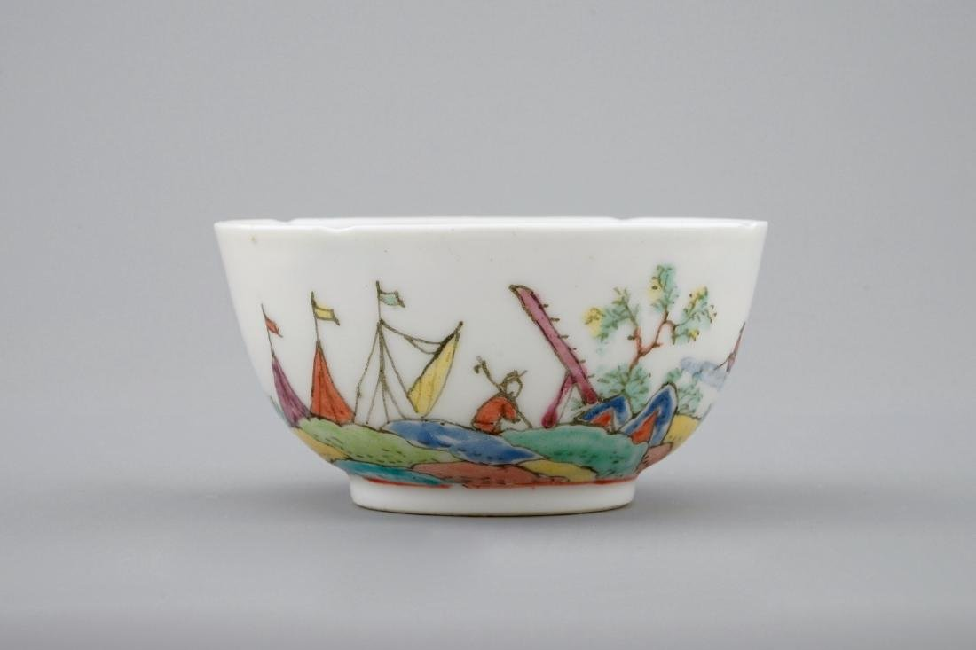 A Dutch-decorated Chinese cup and saucer with a scene - 8
