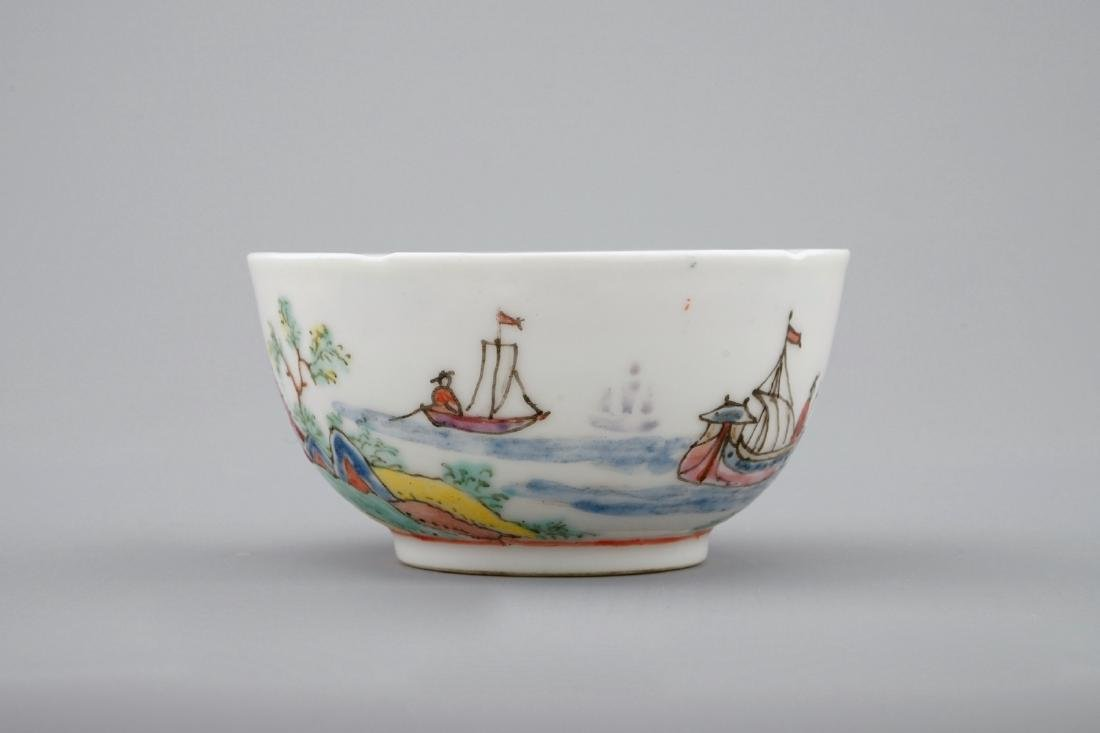 A Dutch-decorated Chinese cup and saucer with a scene - 9