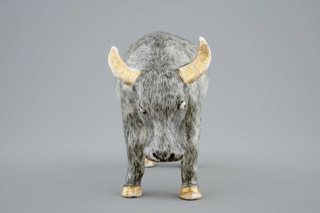 An unusual Chinese grisaille and gilt model of an ox, - 3
