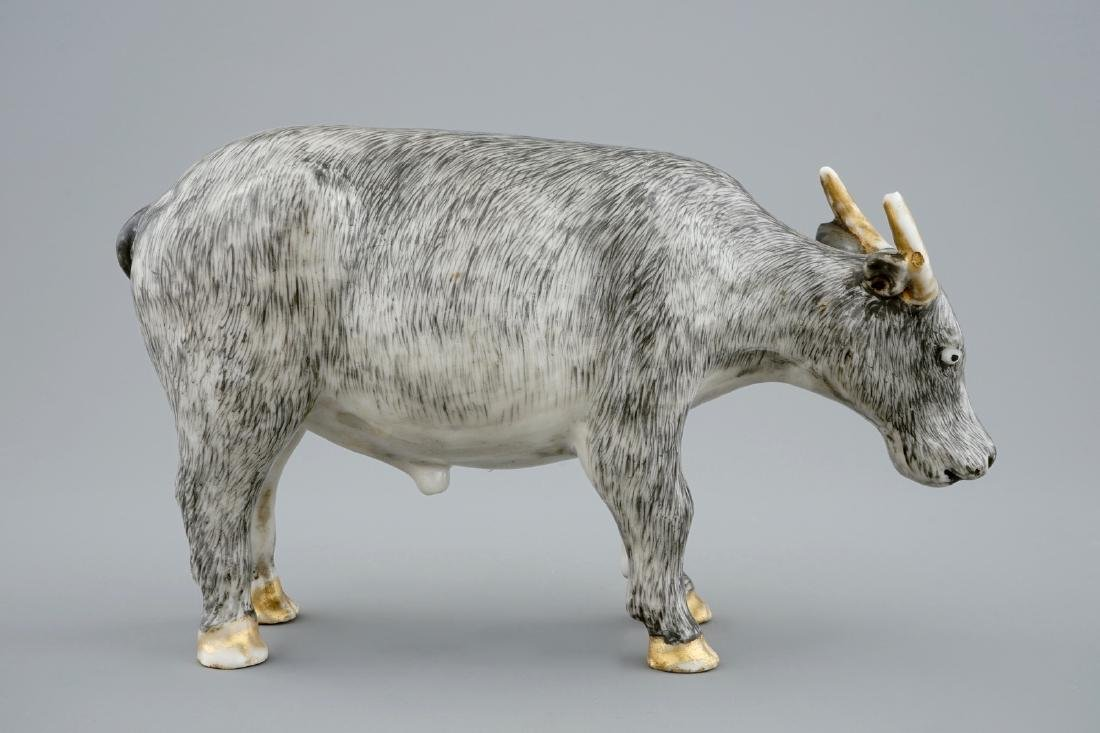 An unusual Chinese grisaille and gilt model of an ox, - 4
