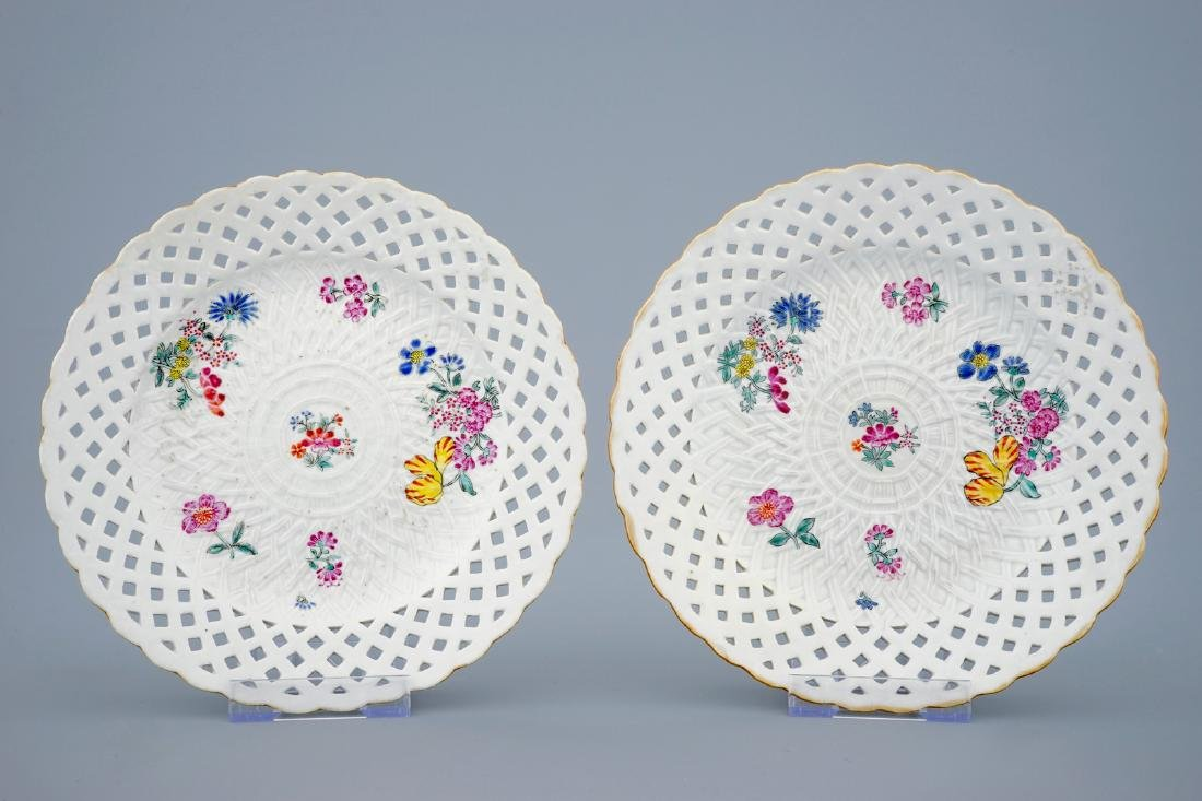A pair of Chinese famille rose pierced border plates