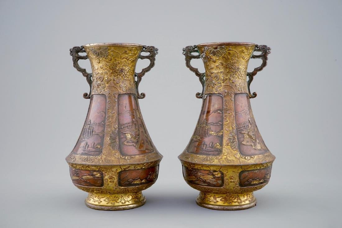 A pair of Japanese parcel gilt bronze vases, Meiji,