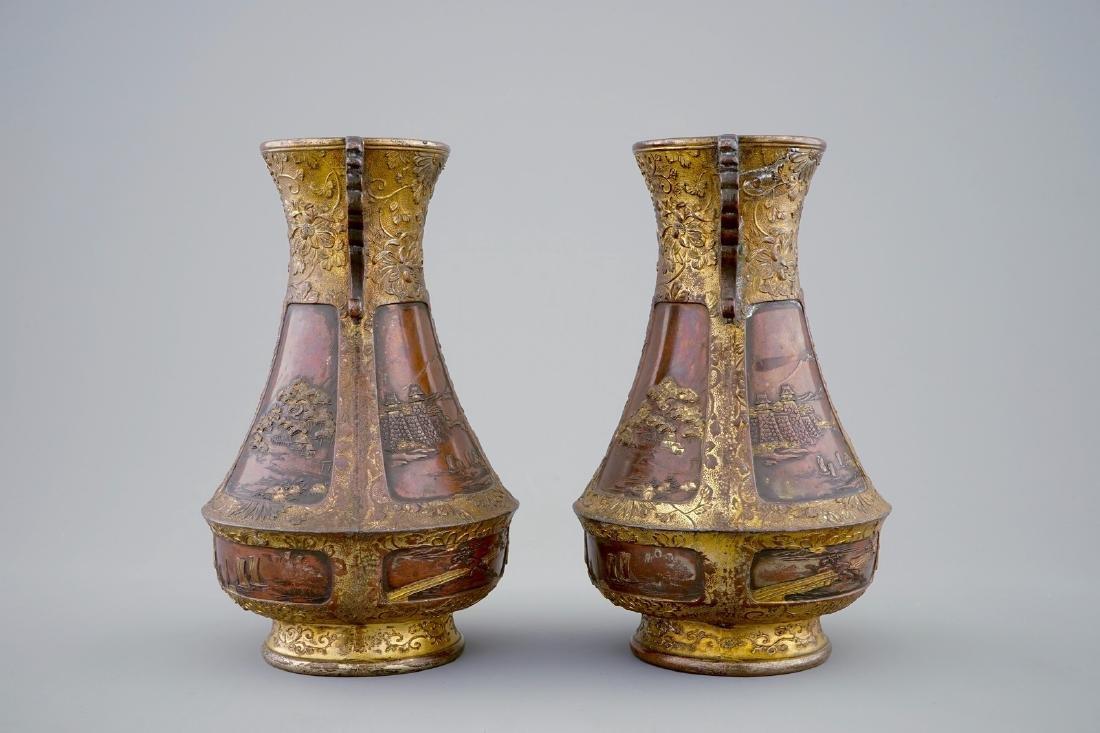 A pair of Japanese parcel gilt bronze vases, Meiji, - 2