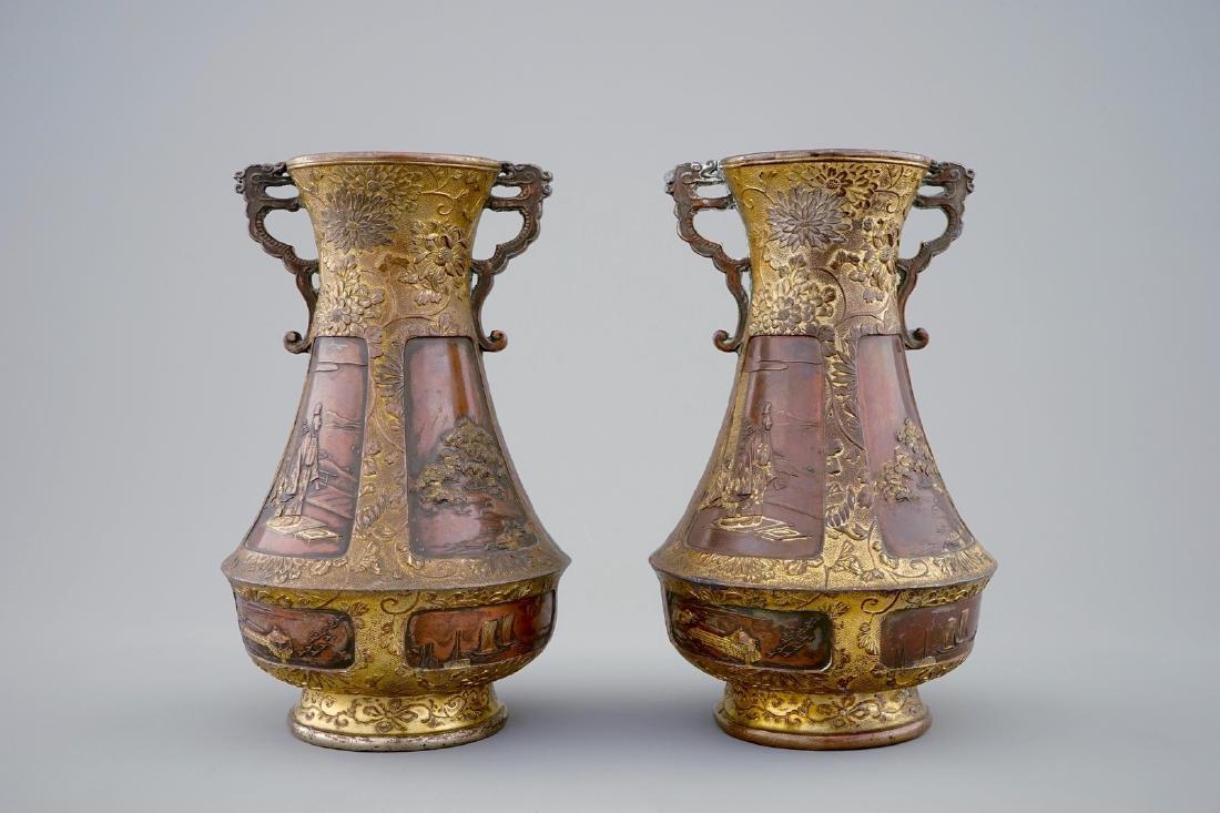 A pair of Japanese parcel gilt bronze vases, Meiji, - 3