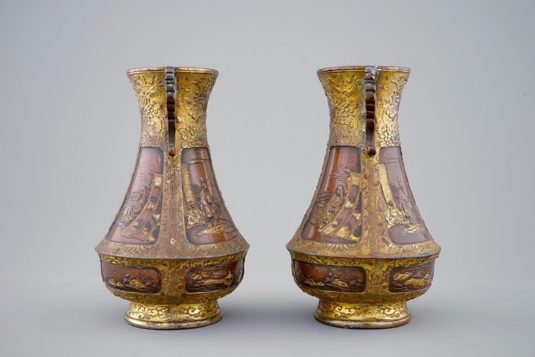 A pair of Japanese parcel gilt bronze vases, Meiji, - 4