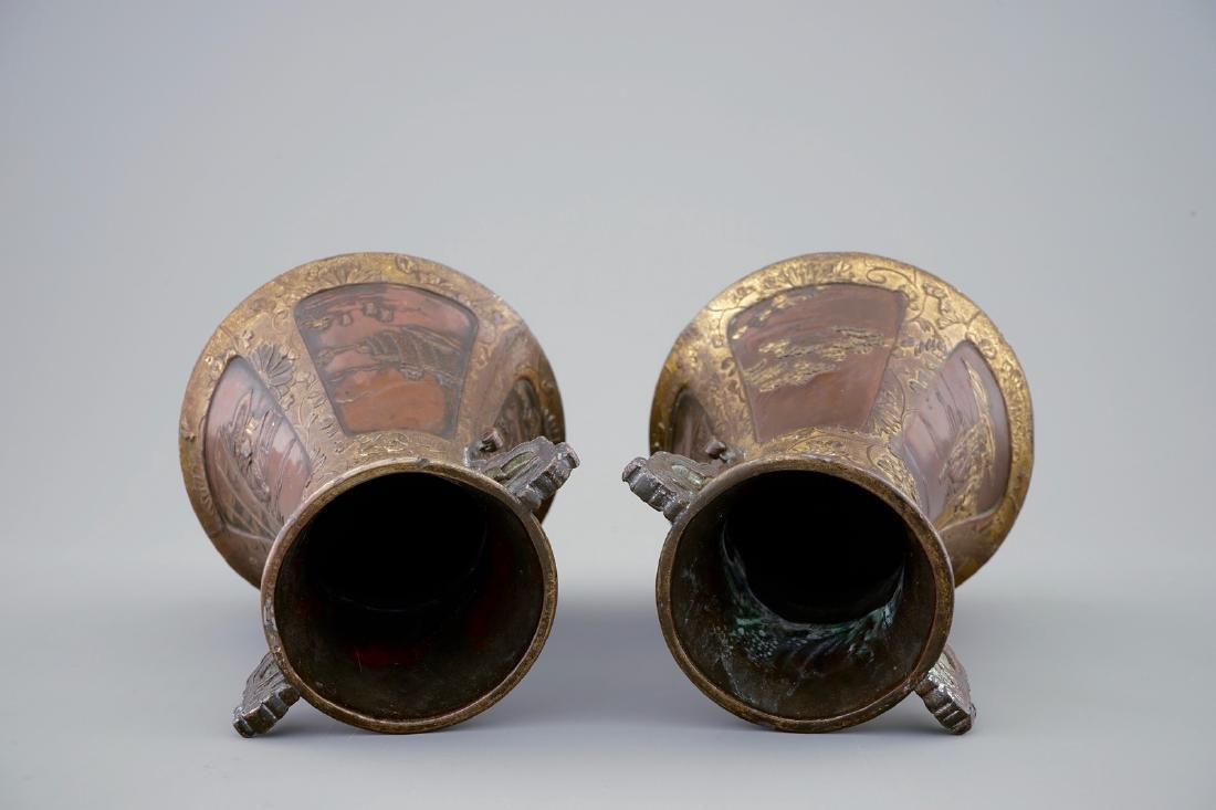 A pair of Japanese parcel gilt bronze vases, Meiji, - 5