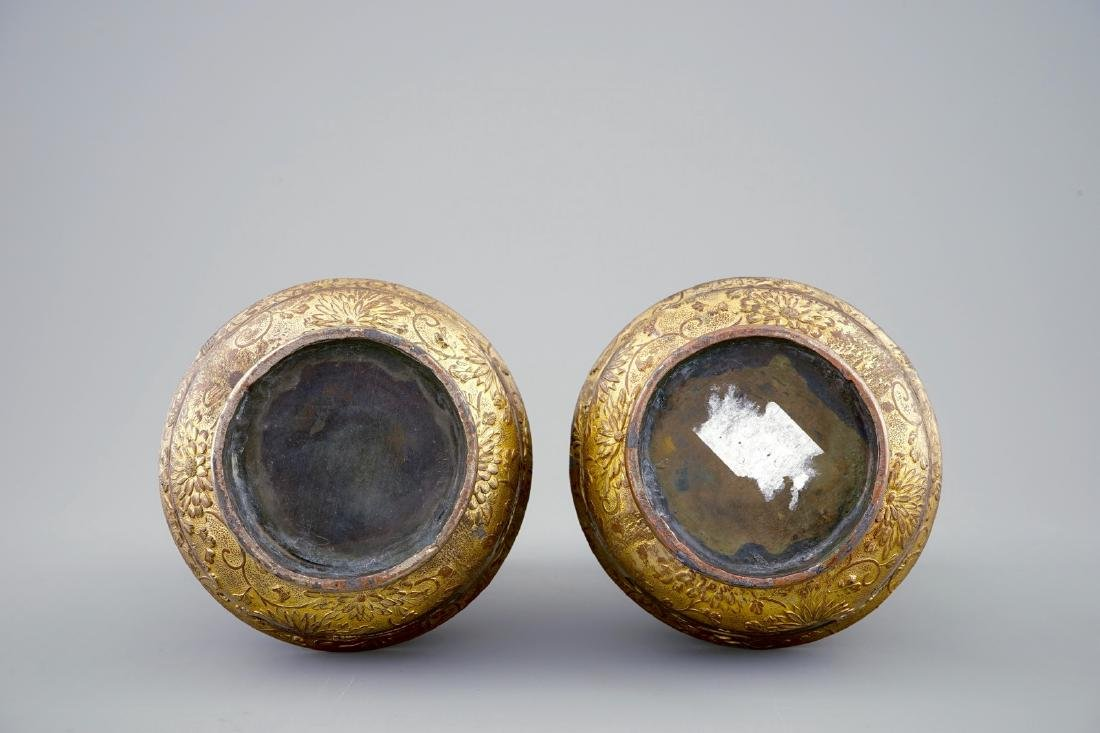 A pair of Japanese parcel gilt bronze vases, Meiji, - 6