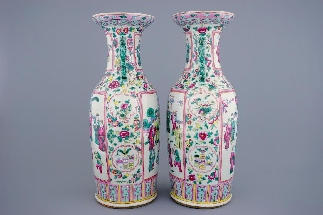 A tall pair of Chinese famille rose vases with court - 2
