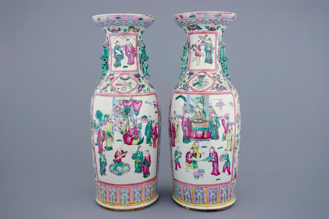 A tall pair of Chinese famille rose vases with court - 3