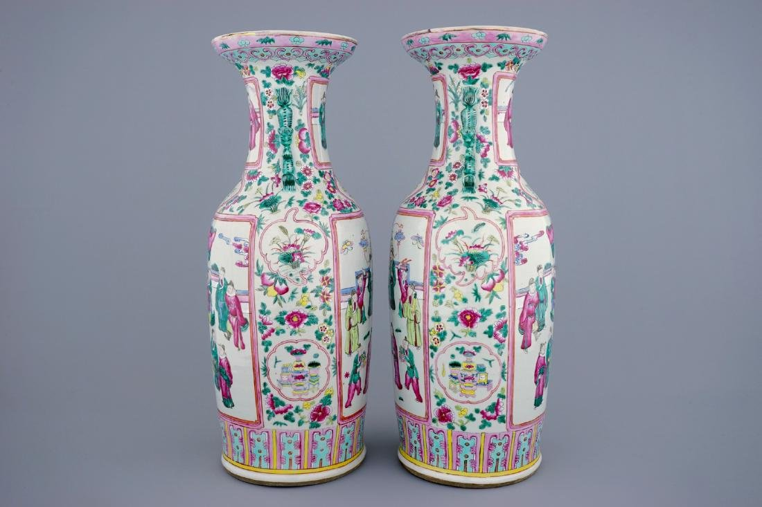 A tall pair of Chinese famille rose vases with court - 4