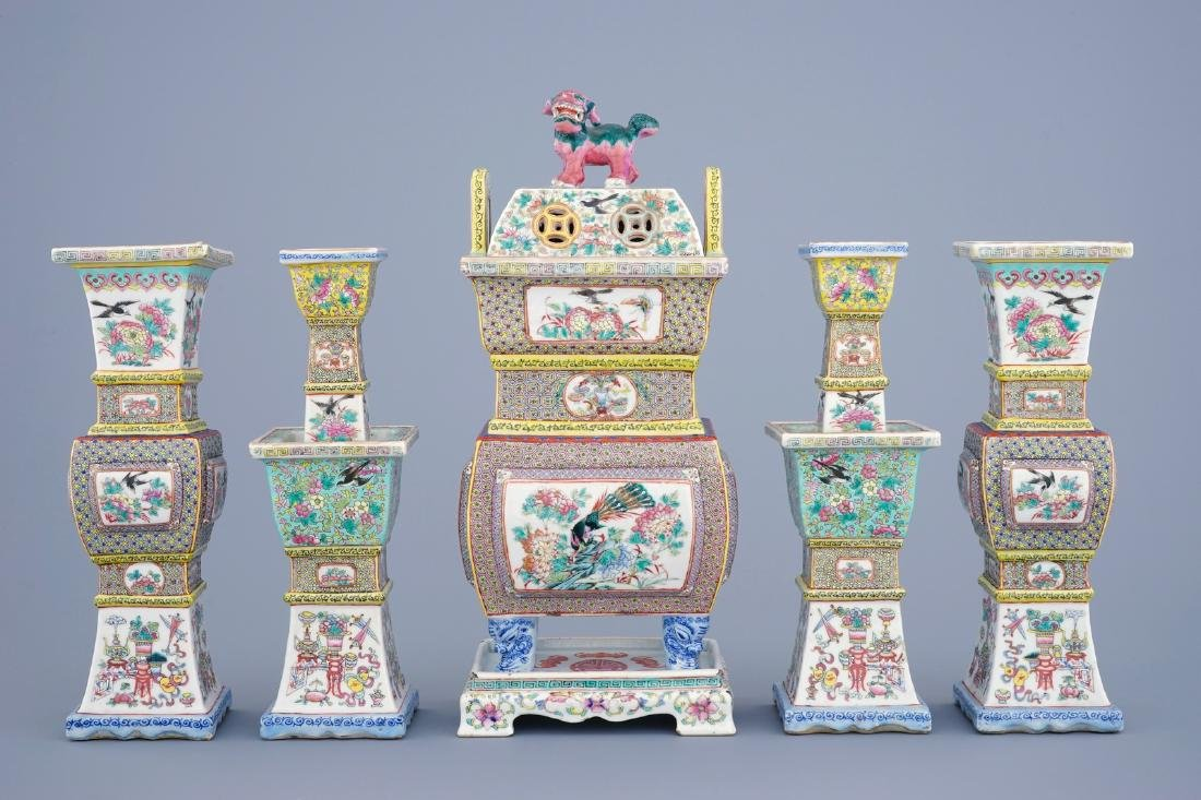 A 5-piece Chinese famille rose temple garniture with a