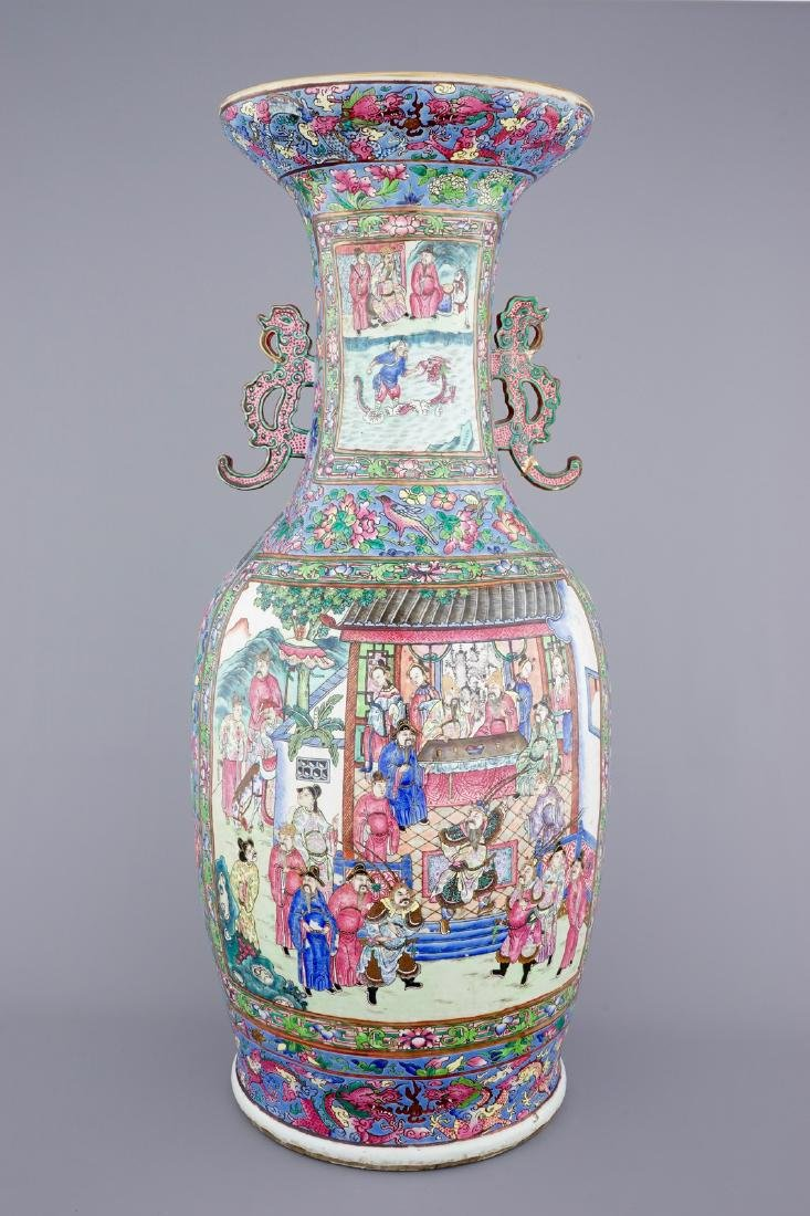 A massive Chinese famille rose on blue ground vase with