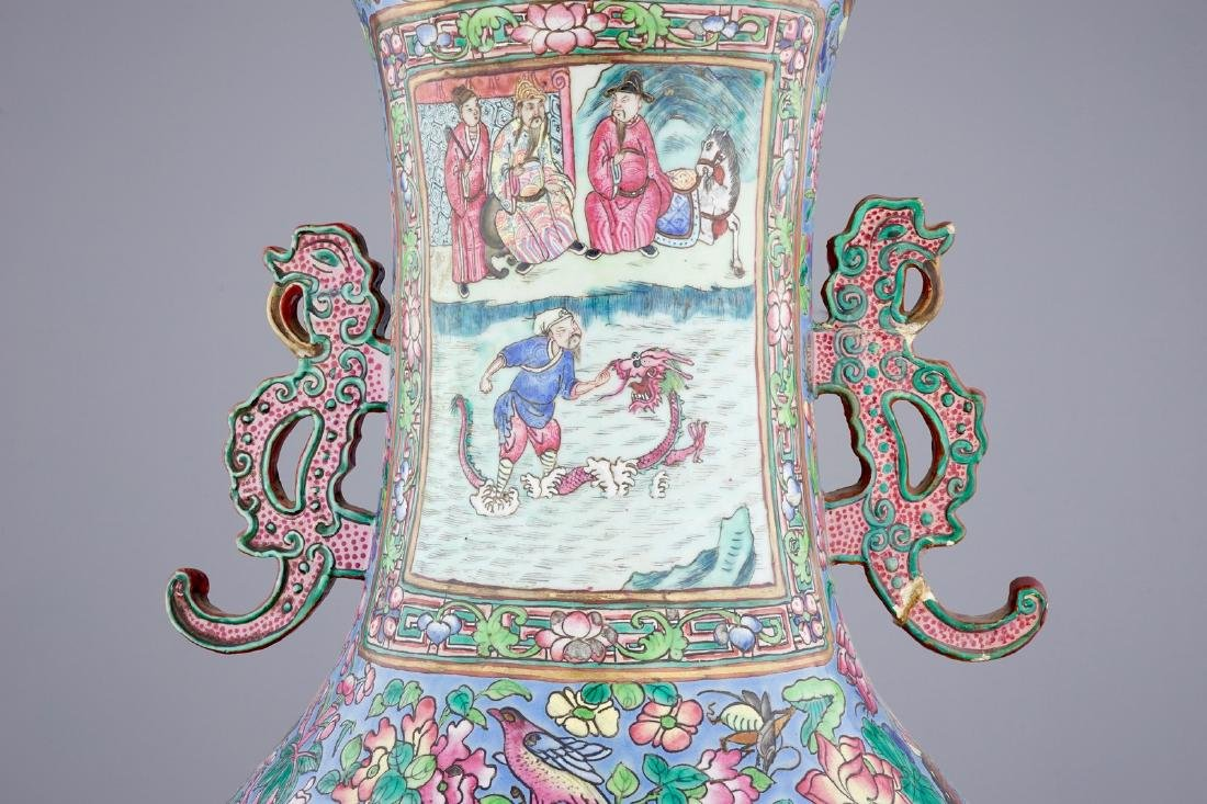 A massive Chinese famille rose on blue ground vase with - 7