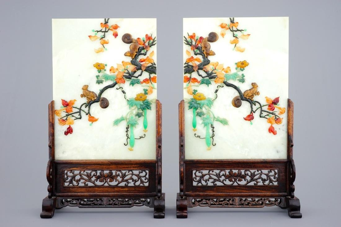 A pair of Chinese inlaid hardstone table screens,