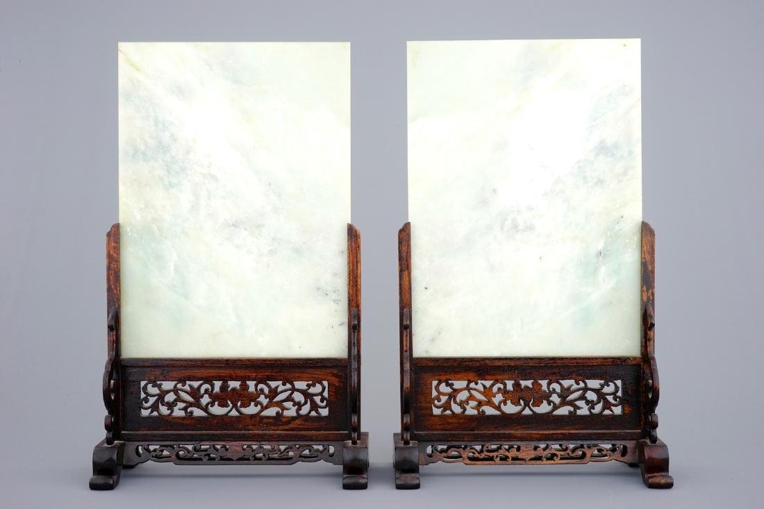 A pair of Chinese inlaid hardstone table screens, - 2