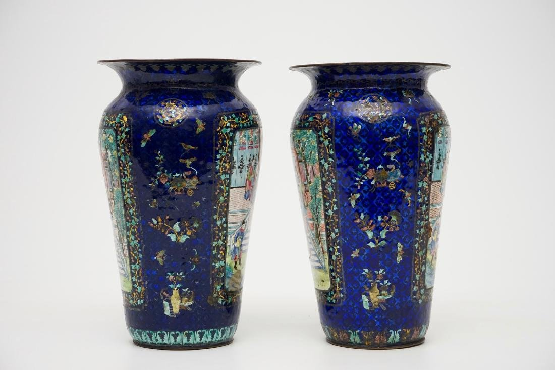 A pair of Chinese blue ground Canton enamel vases, 19th - 2