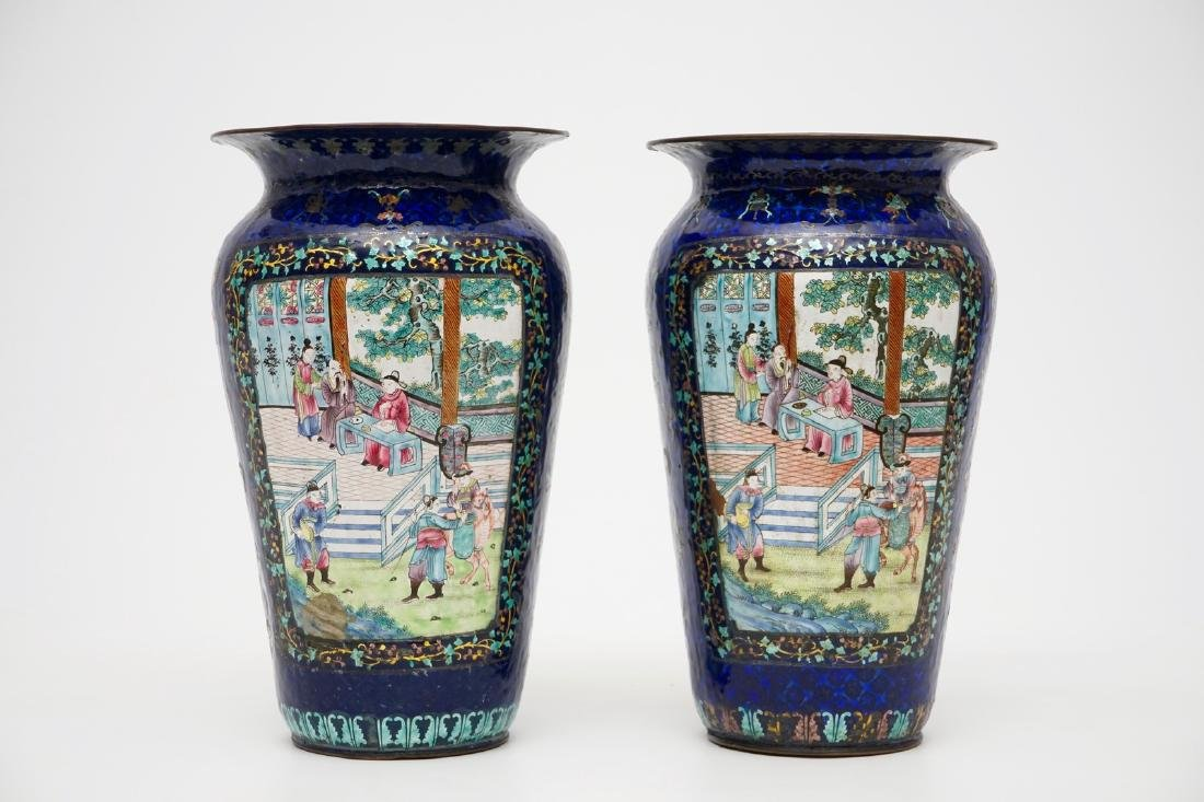 A pair of Chinese blue ground Canton enamel vases, 19th - 3