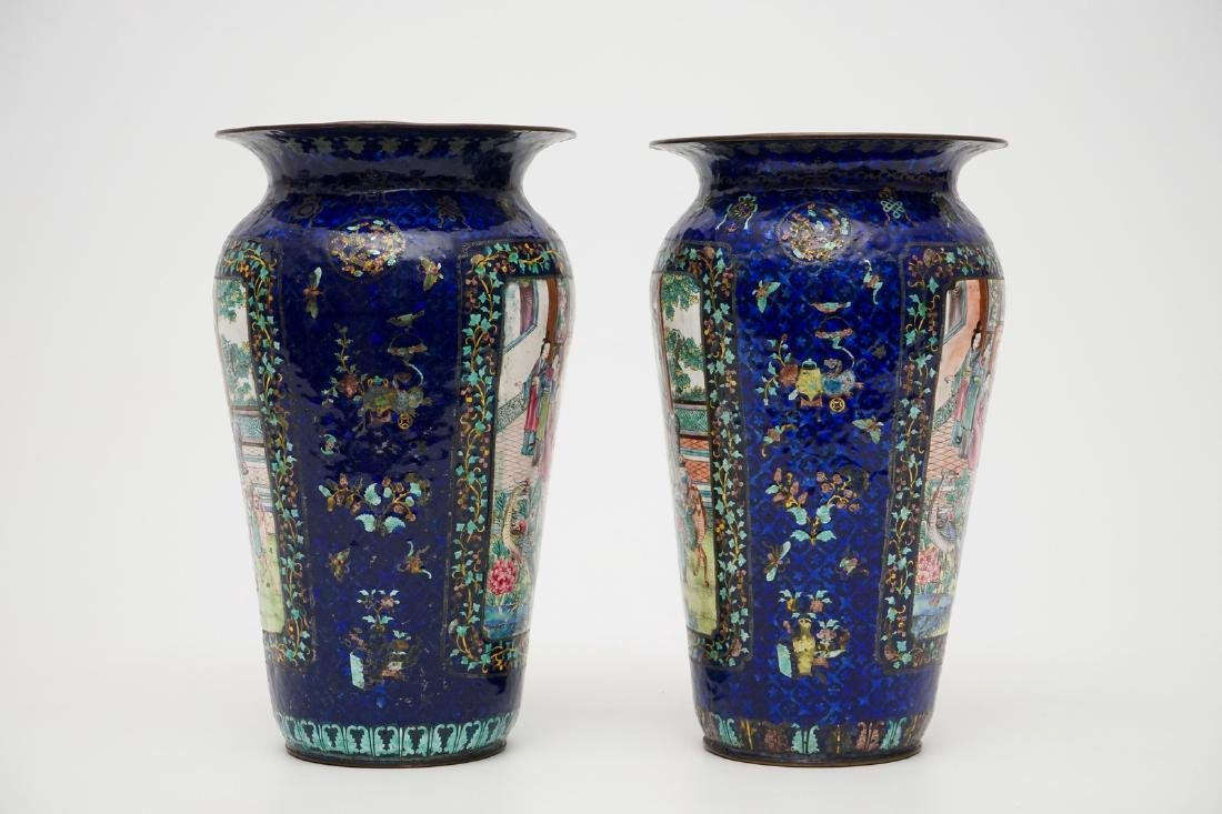A pair of Chinese blue ground Canton enamel vases, 19th - 4