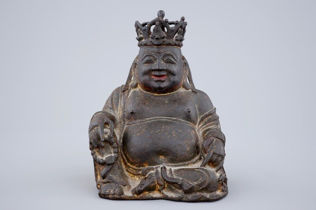 A Chinese gilt and lacquered bronze figure of crowned - 2