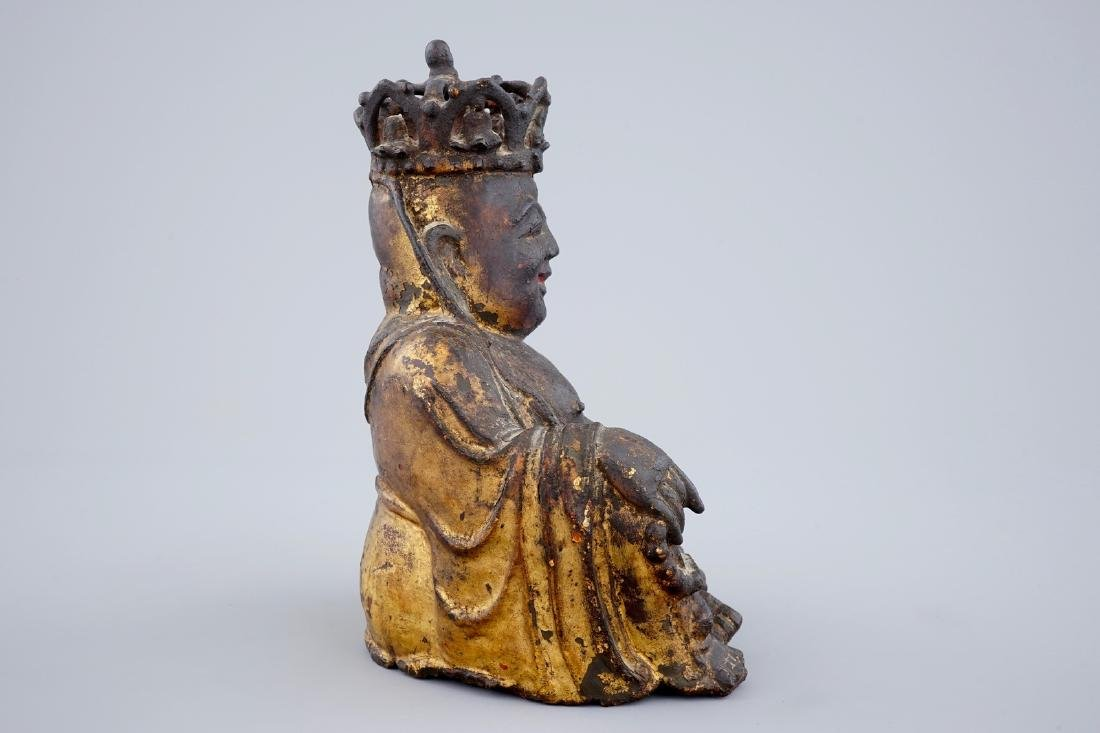 A Chinese gilt and lacquered bronze figure of crowned - 3
