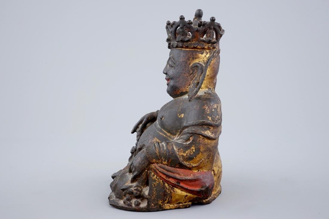 A Chinese gilt and lacquered bronze figure of crowned - 5