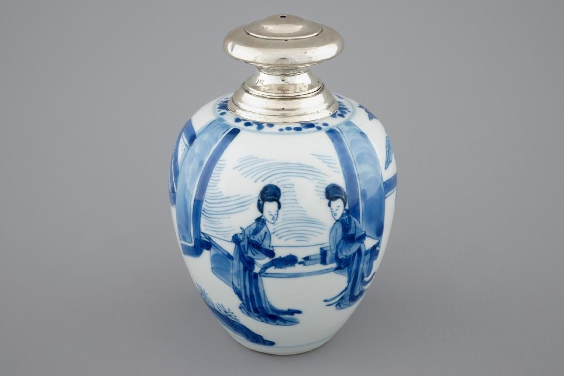 A Chinese silver-mounted blue and white tea caddy,