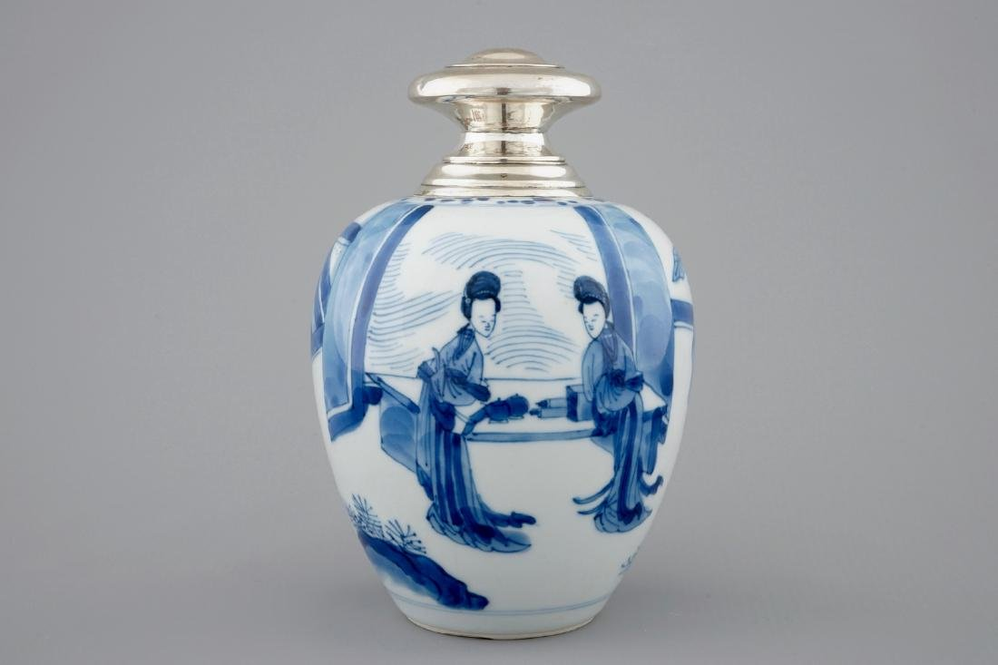 A Chinese silver-mounted blue and white tea caddy, - 2