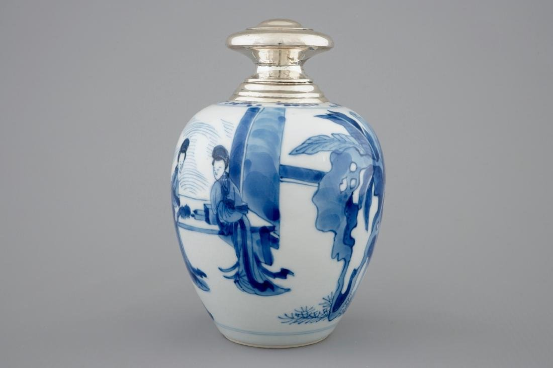 A Chinese silver-mounted blue and white tea caddy, - 5