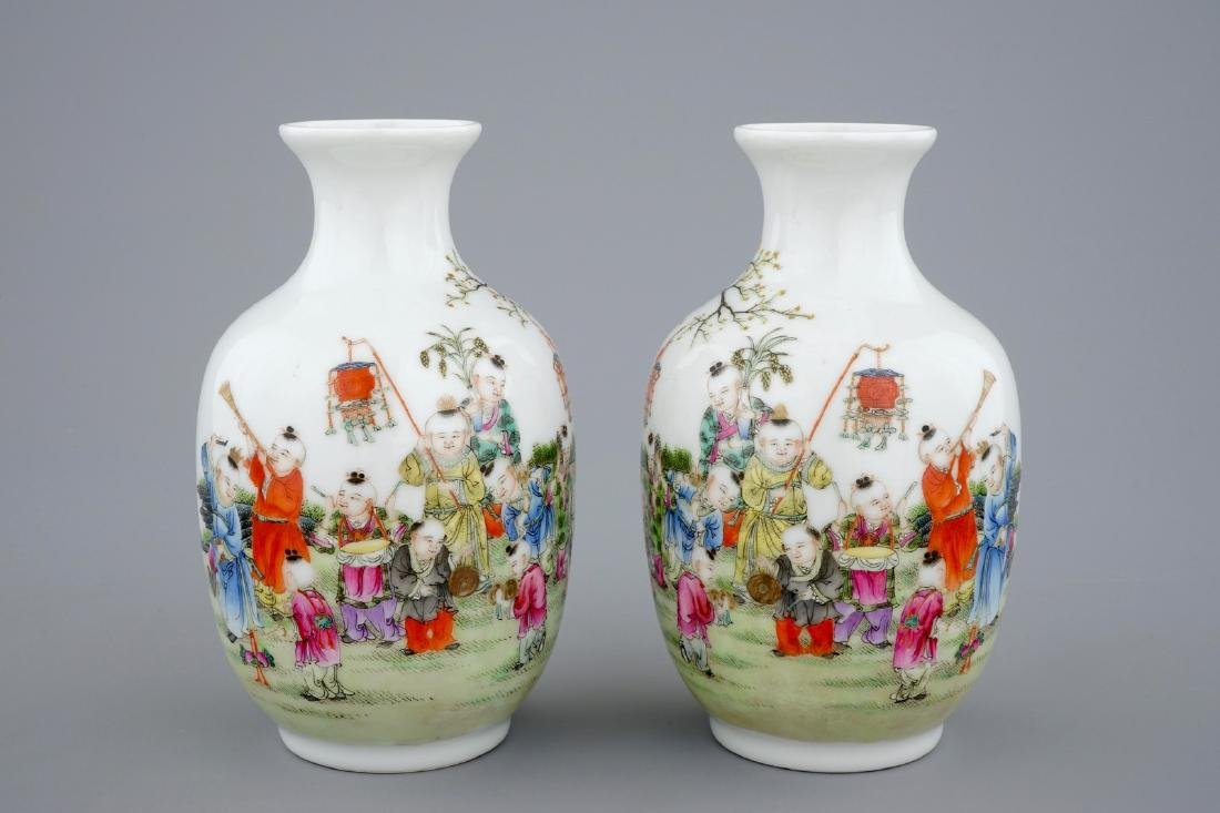 A pair of Chinese famille rose vases with playing boys, - 2