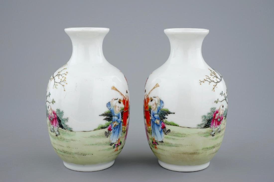 A pair of Chinese famille rose vases with playing boys, - 3