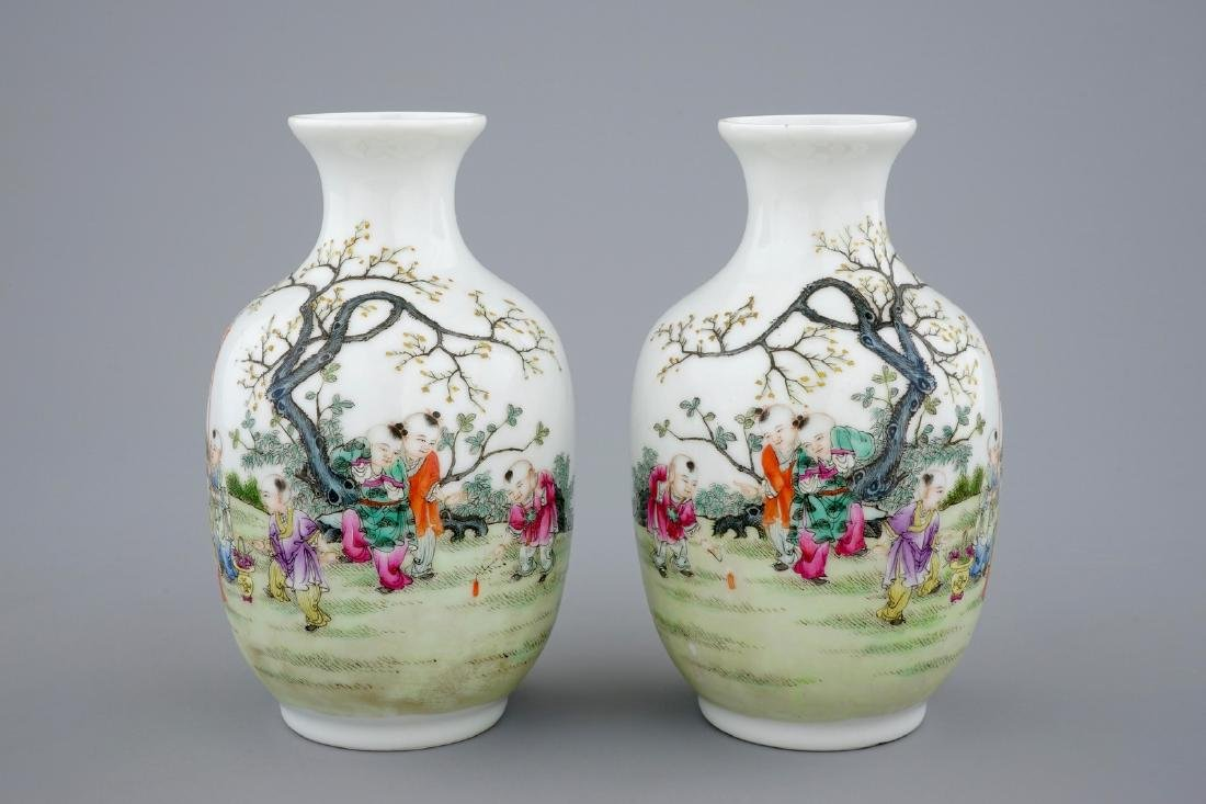 A pair of Chinese famille rose vases with playing boys, - 4