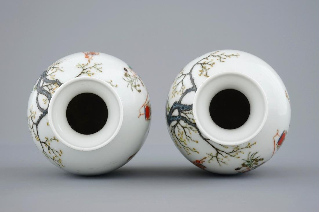A pair of Chinese famille rose vases with playing boys, - 5