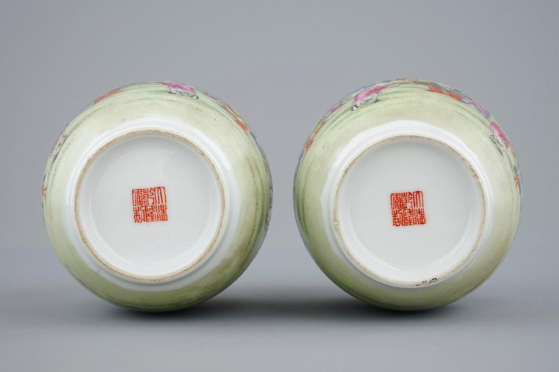 A pair of Chinese famille rose vases with playing boys, - 6