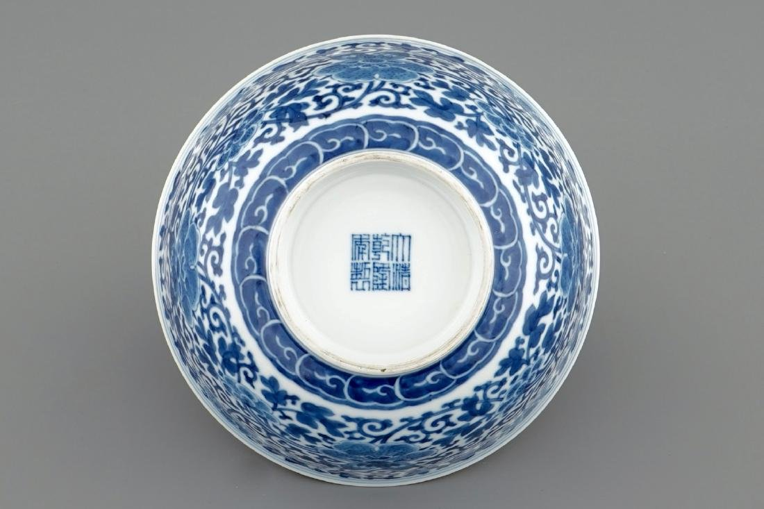 A Chinese blue and white peony scroll bowl, Qianlong - 3