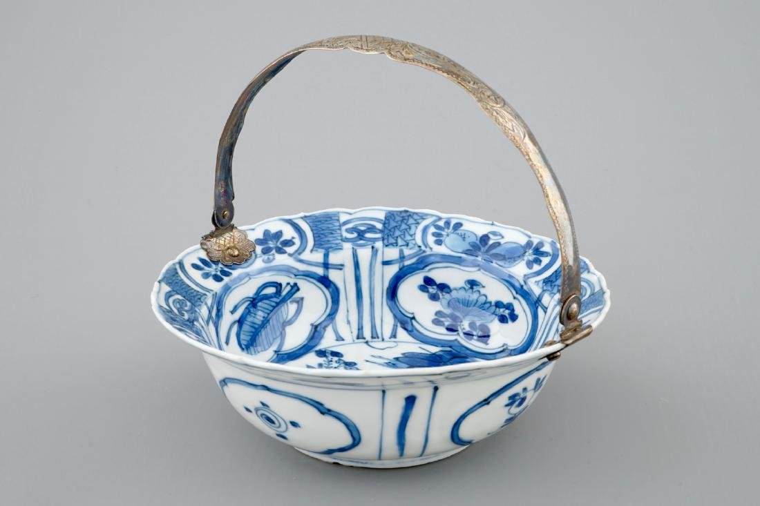 A Chinese blue and white silver-handled Kraak porcelain