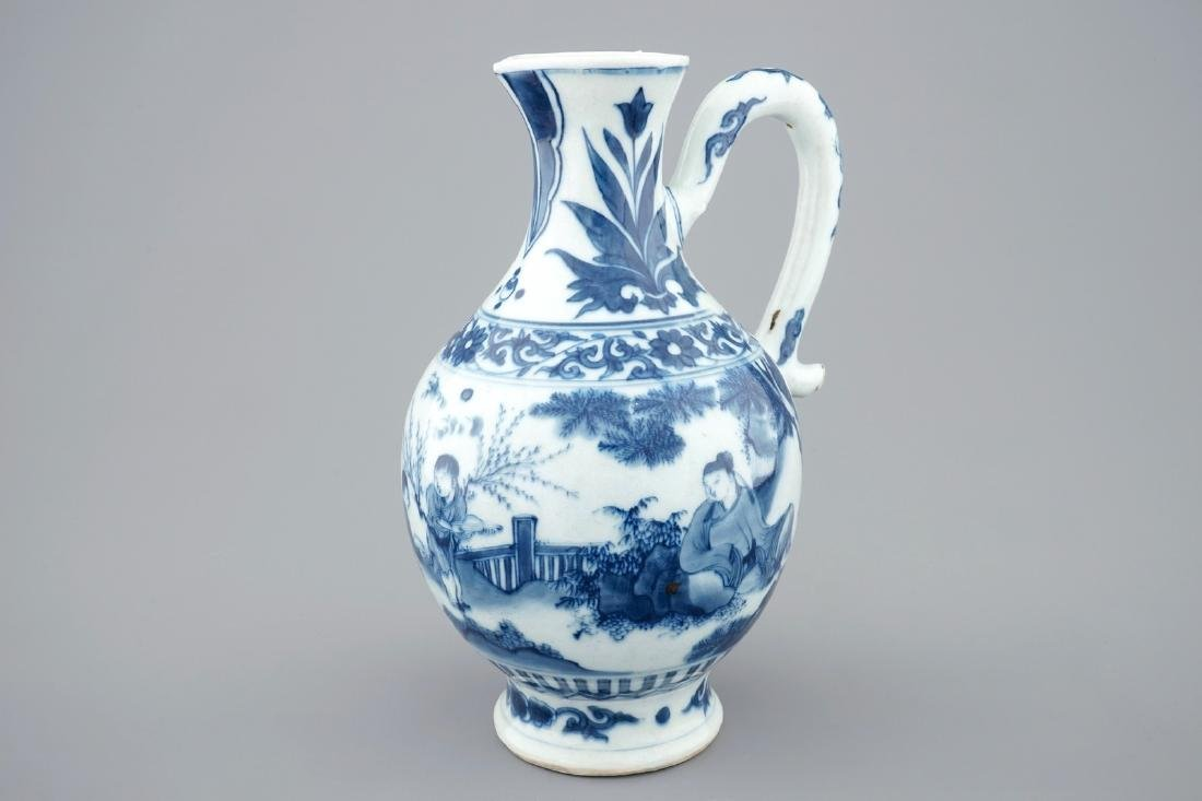 A blue and white Chinese jug, Transitional period,