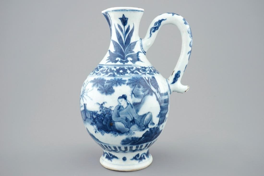 A blue and white Chinese jug, Transitional period, - 2