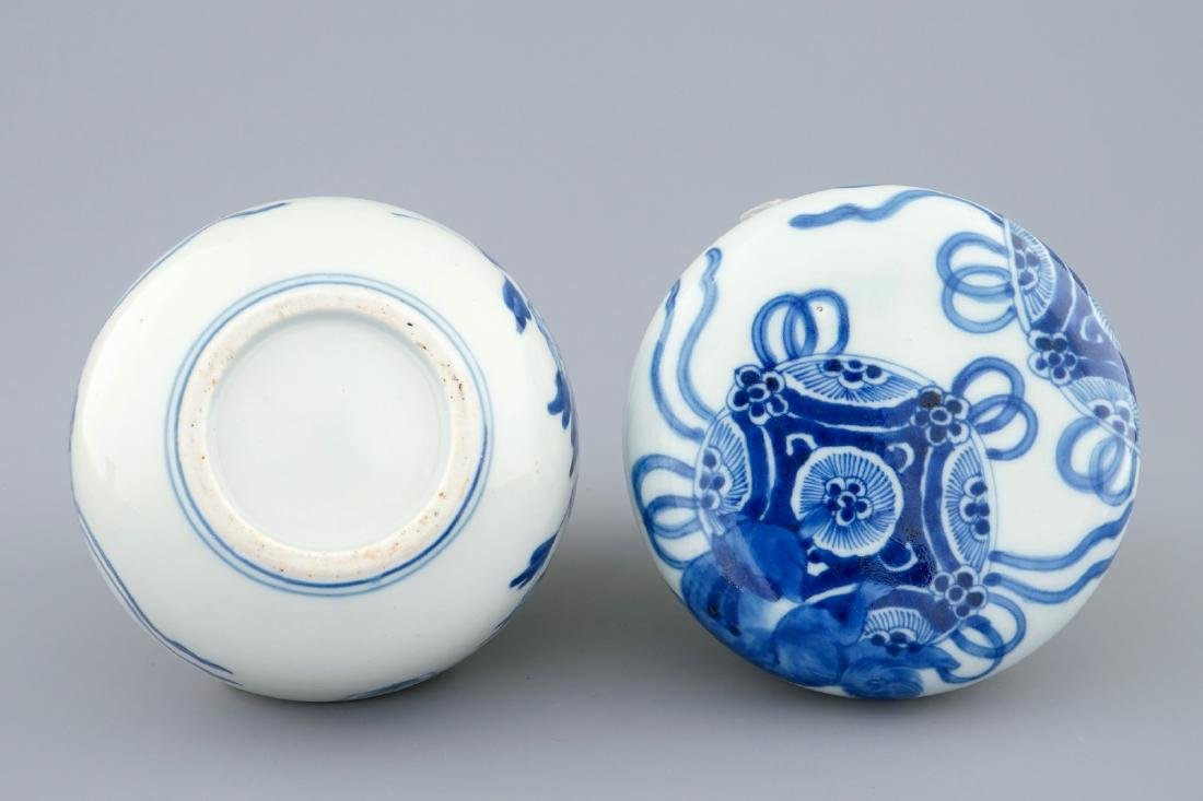 A blue and white Chinese box and cover, Transitional - 4