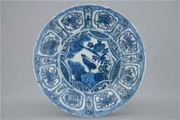A blue and white Chinese kraak porcelain plate with a