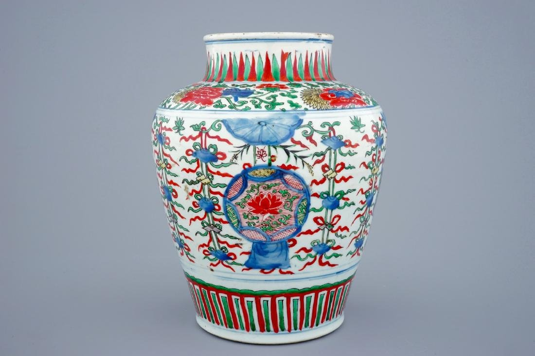 A Chinese Transitional wucai vase wuth buddhist