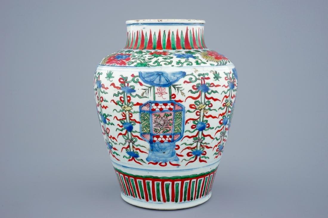 A Chinese Transitional wucai vase wuth buddhist - 2