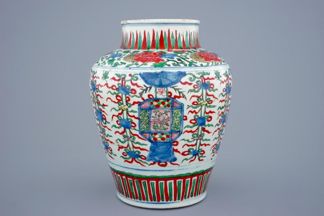 A Chinese Transitional wucai vase wuth buddhist - 4