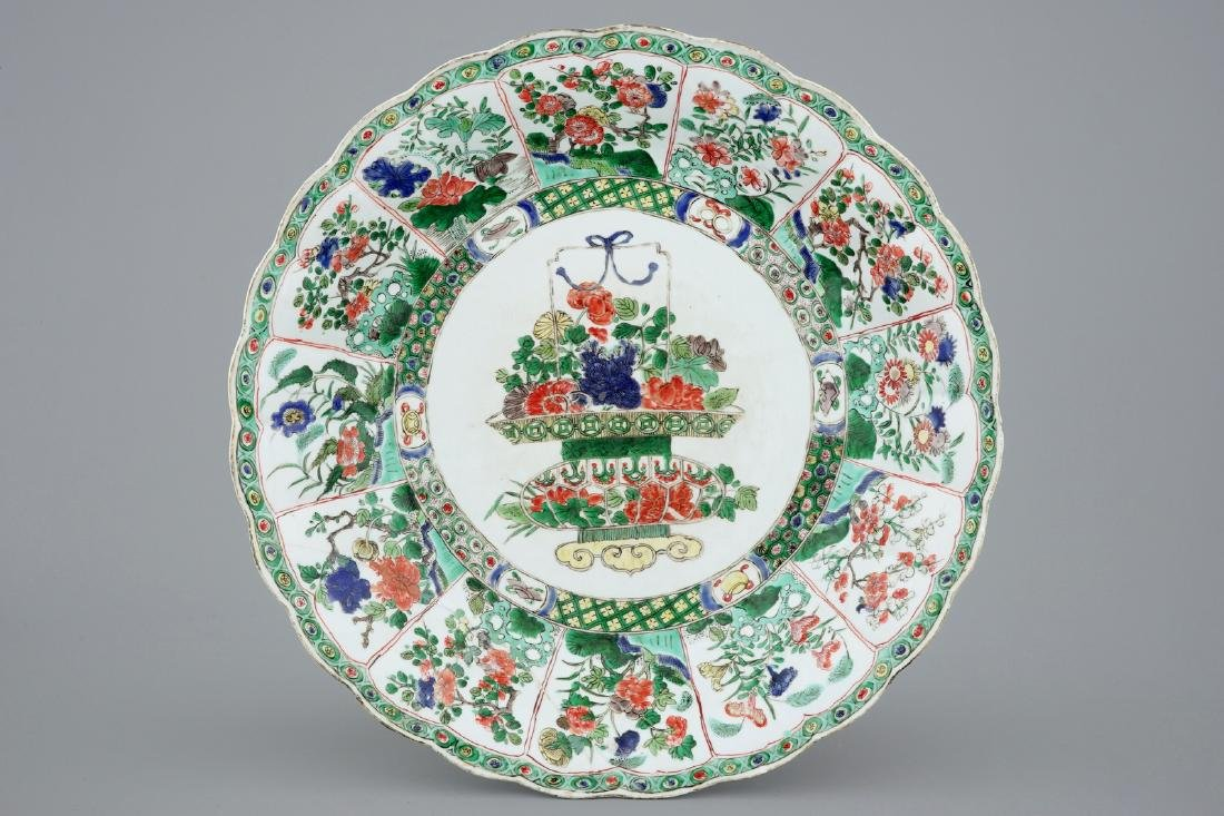 A large Chinese famille verte dish with a flower